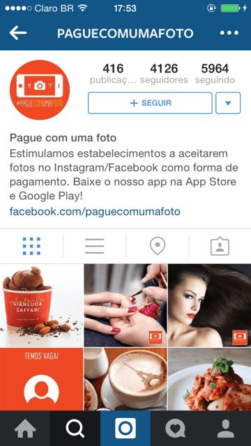 Siga o @paguecomumafoto no Instagram e saiba quais os estabelecimentos que aceitam fotos como forma de pagamento.