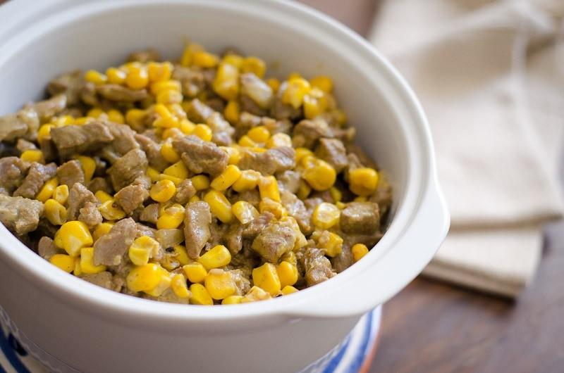 Picadinho de carne com milho