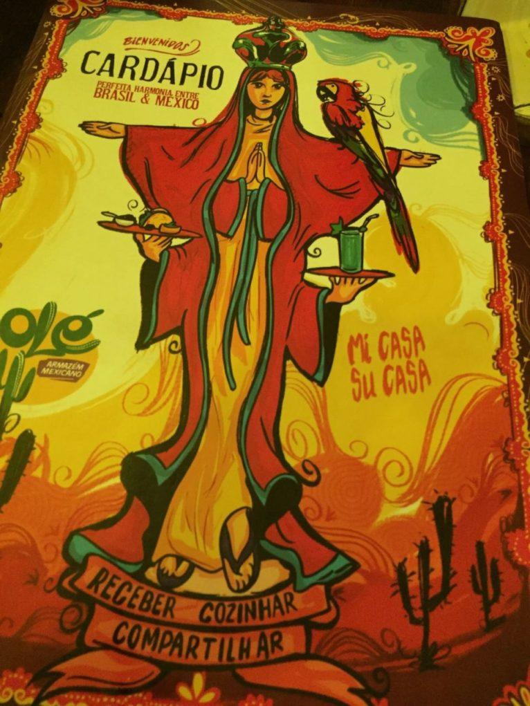 Cardápio estilizado com imagens mexicanas. Foto: Sabina Furh