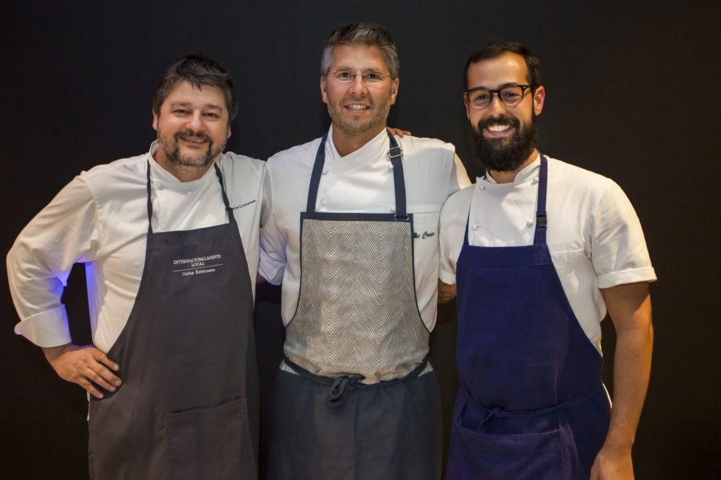 Carlos Kristensen, Vico Crocco e Marcelo Shambeck criaram pratos inspirados na obra de cada convidado. Foto:Fábio Mattos